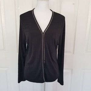 Ann Taylor Rayon Long Sleeve Black Cardigan